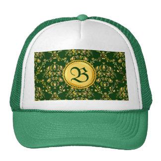 Gorgeous Medieval Monogram Gold Dark Green Damask Hats