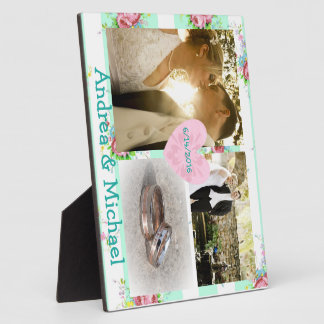 Gorgeous Mint and Pink Floral Wedding Photo Plaque