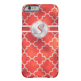 Gorgeous, Modern Silver and Red Monogram Barely There iPhone 6 Case