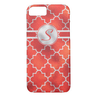Gorgeous, Modern Silver and Red Monogram iPhone 7 Case