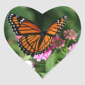 Gorgeous Monarch Butterfly Design Heart Sticker