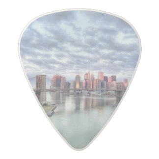 Gorgeous morning view and city reflections acetal guitar pick