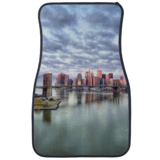 Gorgeous morning view and city reflections car mat