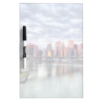 Gorgeous morning view and city reflections Dry-Erase whiteboard