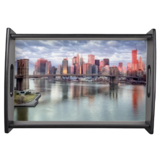 Gorgeous morning view and city reflections serving tray