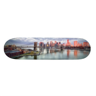 Gorgeous morning view and city reflections skate board