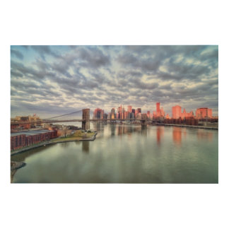 Gorgeous morning view and city reflections wood wall decor