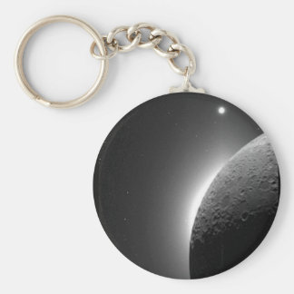 Gorgeous NASA image, the Moon lit by Earth-shine Basic Round Button Key Ring