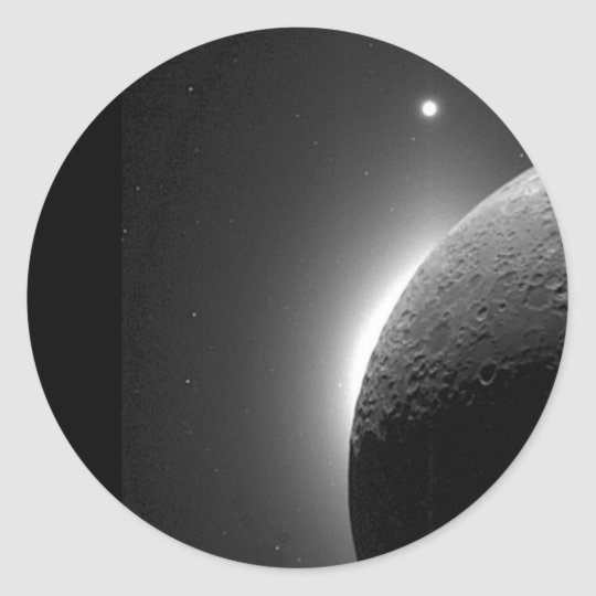 Gorgeous NASA image, the Moon lit by Earth-shine Classic Round Sticker