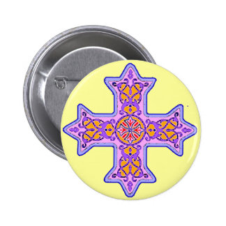 Gorgeous Pastel Coptic Cross 6 Cm Round Badge