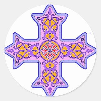 Gorgeous Pastel Coptic Cross Round Sticker