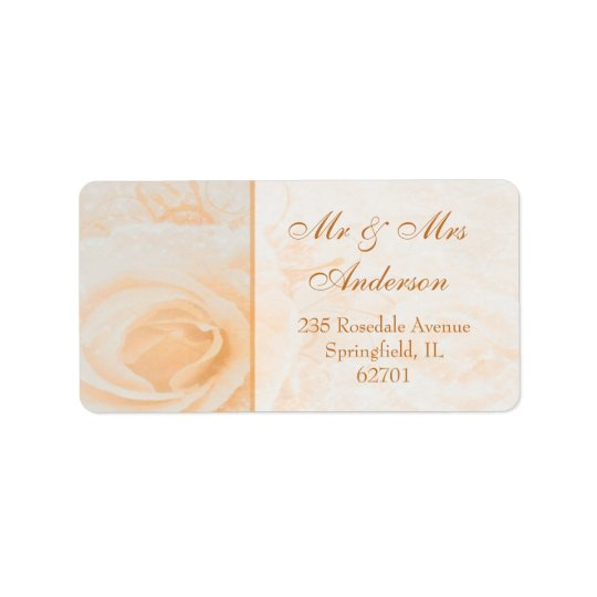 Gorgeous peach cream rose Address Label