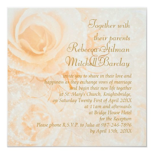 Gorgeous peach cream roses Wedding Invitation