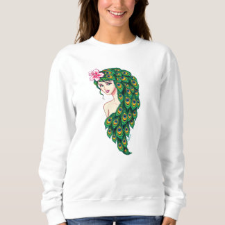 Gorgeous Peacock Goddess Art Women's Comfy Sweater