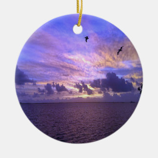 Gorgeous Pelicans In Flight Christmas Ornament