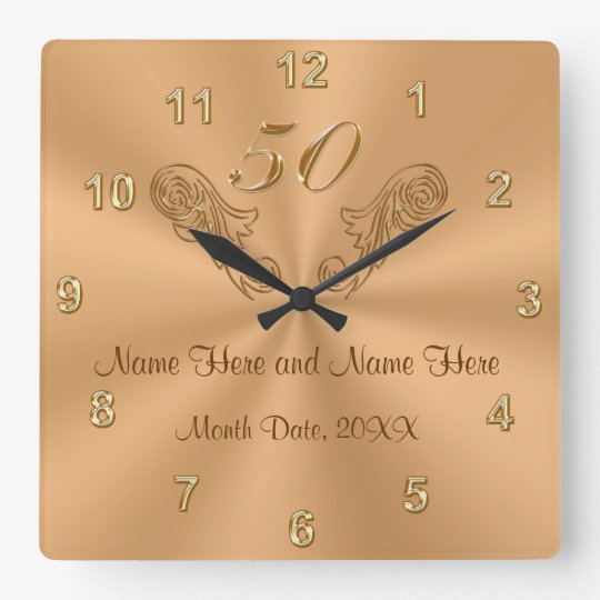 Gorgeous Personalised 50th Anniversary Gifts Square Wall Clock