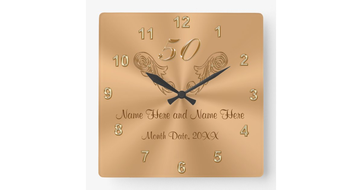 Golden Wedding Anniversary Gifts For Parents Uk : Gorgeous Personalised 50th Anniversary Gifts Wall Clock Zazzle