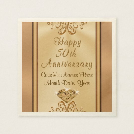 Gorgeous Personalised 50th Anniversary Napkins Disposable Serviette