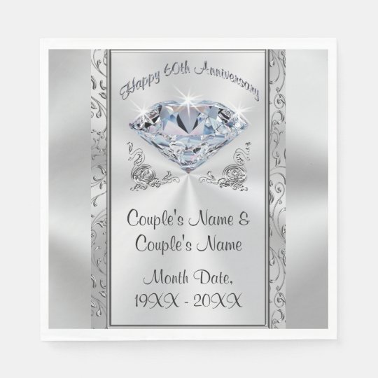 Gorgeous Personalised 60th Anniversary Napkins Disposable Serviettes