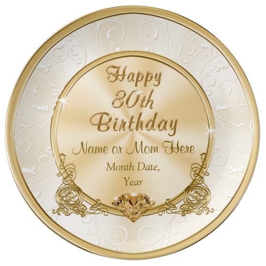 Gorgeous Personalised 80th Birthday Gifts For Mum Plate