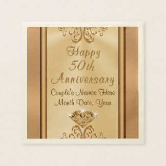 Gorgeous Personalized 50th Anniversary Napkins Disposable Serviette