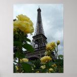 Gorgeous Photo Eiffel Tower Paris Yellow Roses Poster