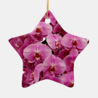 Gorgeous pink orchids print ceramic star decoration