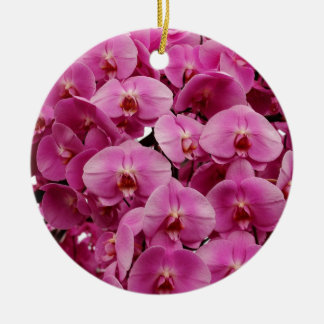 Gorgeous pink orchids print christmas ornament