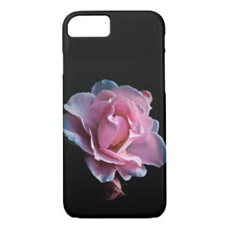 Gorgeous Pink Rose on Black iPhone 7 Case