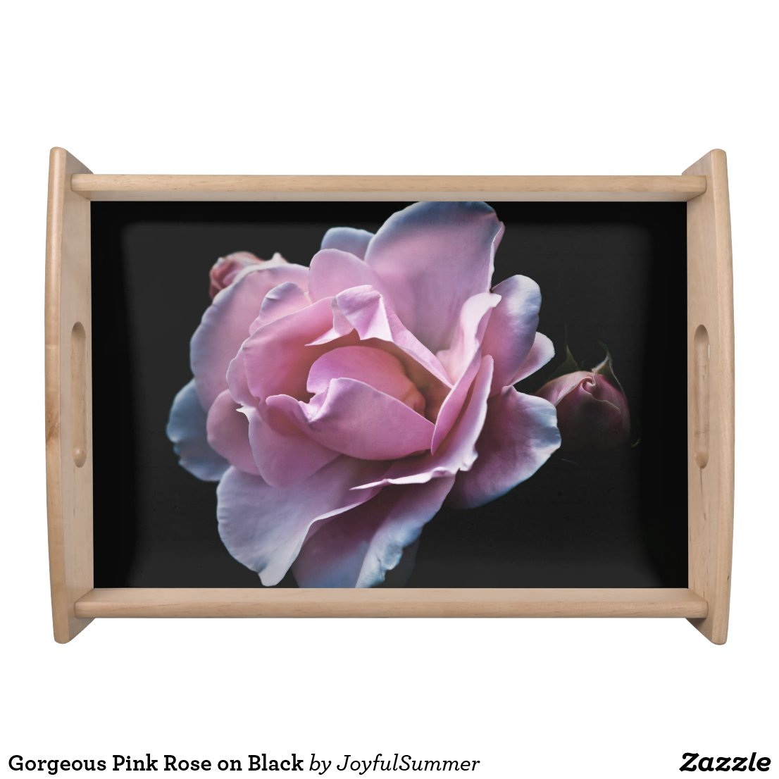 Gorgeous Pink Rose on Black Serving Tray