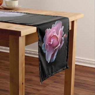 Gorgeous Pink Rose on Black. Short Table Runner