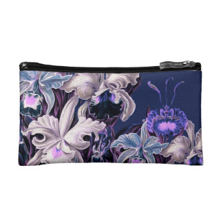Gorgeous Purple Blue Vintage Flowers Cosmetics Bags