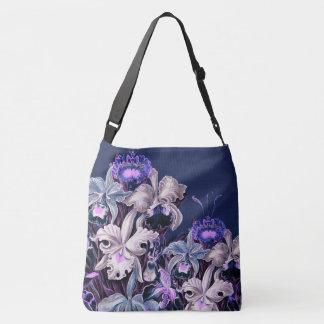 Gorgeous Purple Blue Vintage Flowers Crossbody Bag