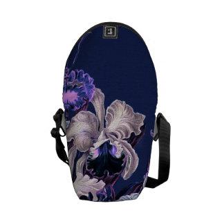 Gorgeous Purple Blue Vintage Flowers Messenger Bag