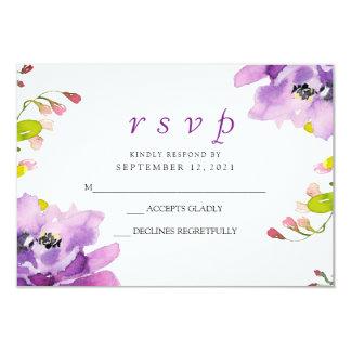 Gorgeous Purple Floral Wedding RSVP Invite
