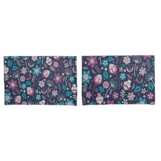 Gorgeous Purple Wild Flowers Pattern Case Set Pillowcase