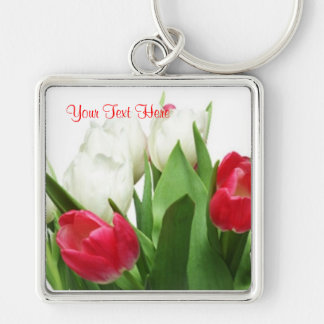 Gorgeous Red and White Tulips Design Key Ring Silver-Colored Square Key Ring