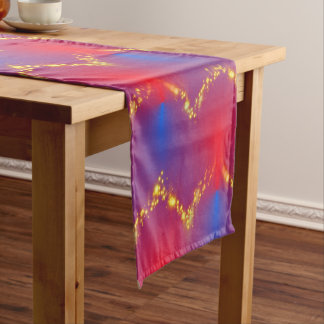 Gorgeous Red Blue Ombre with Gold Sparkles Short Table Runner
