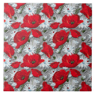 Gorgeous red poppies summer flowers pattern tile
