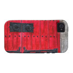 Gorgeous Red Rustic Wood Door Case For The iPhone 4