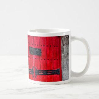 Gorgeous Red Rustic Wood Door Coffee Mugs