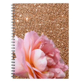 Gorgeous Rose on Honey Gold Glitter Note Book
