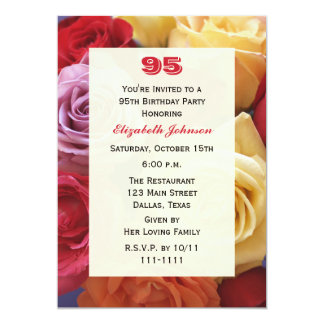 "Gorgeous Roses 95th Birthday Party Invitation 5"" X 7"" Invitation Card"