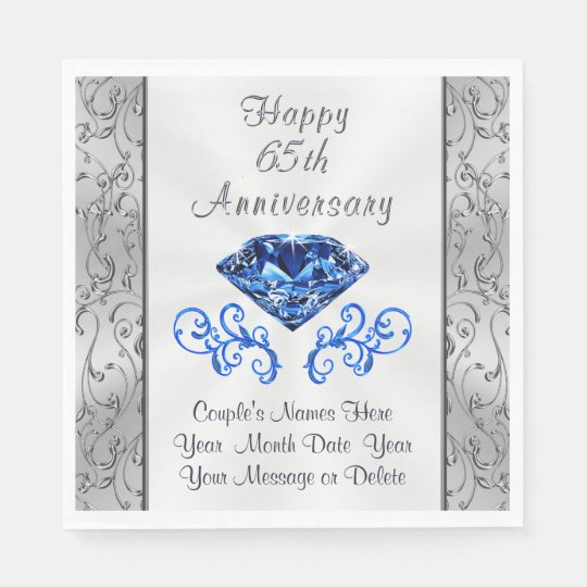 65 Wedding Anniversary Gift: Gorgeous Sapphire 65th Wedding Anniversary Napkins