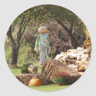Gorgeous Scenic Fall Scarecrow Pumpkin Photograph Classic Round Sticker