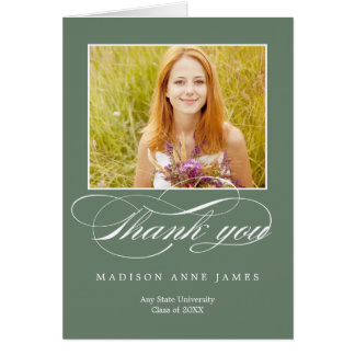 Gorgeous Script Graduation Thank You Card