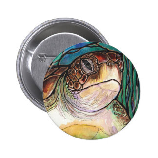 Gorgeous Sea Turtle Stained Glass Style Art 6 Cm Round Badge
