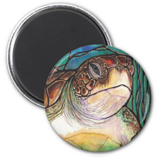 Gorgeous Sea Turtle Stained Glass Style Art 6 Cm Round Magnet