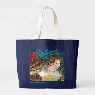 Gorgeous Sea Turtle Stained Glass Style Art Large Tote Bag