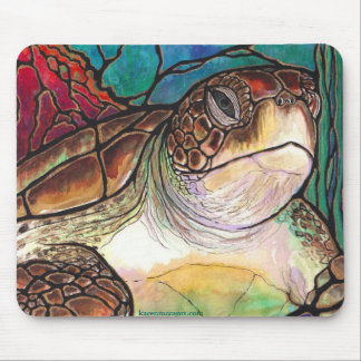 Gorgeous Sea Turtle Stained Glass Style Art Mouse Pad